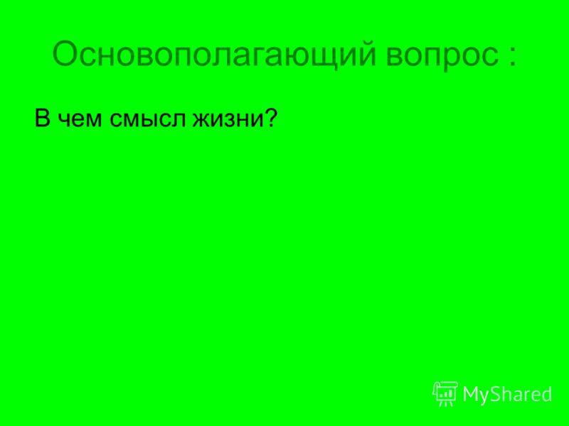 Основополагающий вопрос : В чем смысл жизни?