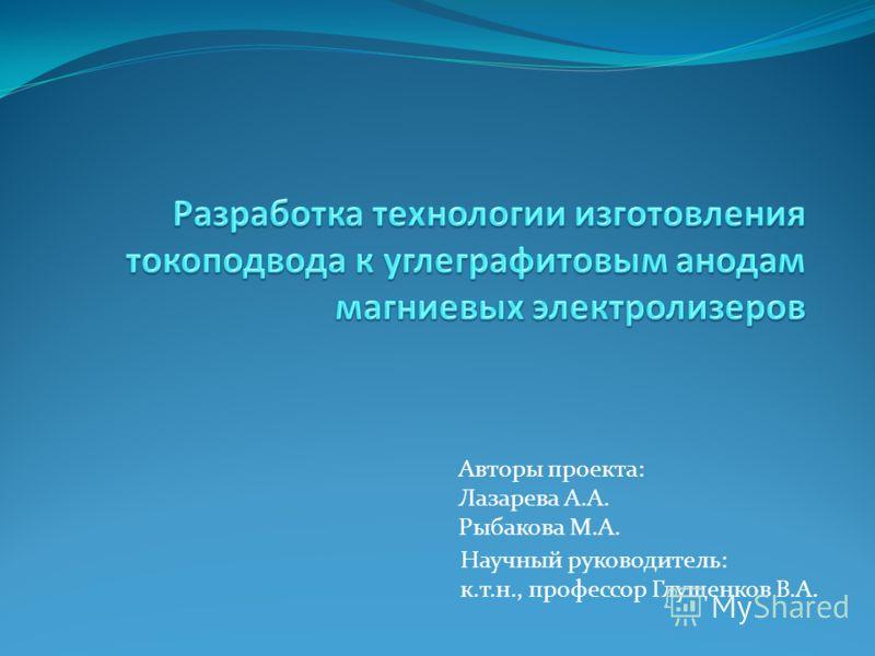 Авторы проекта: Лазарева А.А. Рыбакова М.А. Научный руководитель: к.т.н., профессор Глущенков В.А.