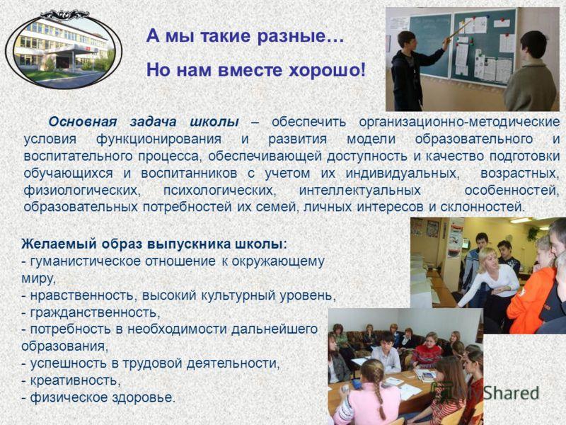 А мы такие разные… Но нам вместе хорошо! Основная задача школы – обеспечить организационно-методические условия функционирования и развития модели образовательного и воспитательного процесса, обеспечивающей доступность и качество подготовки обучающих
