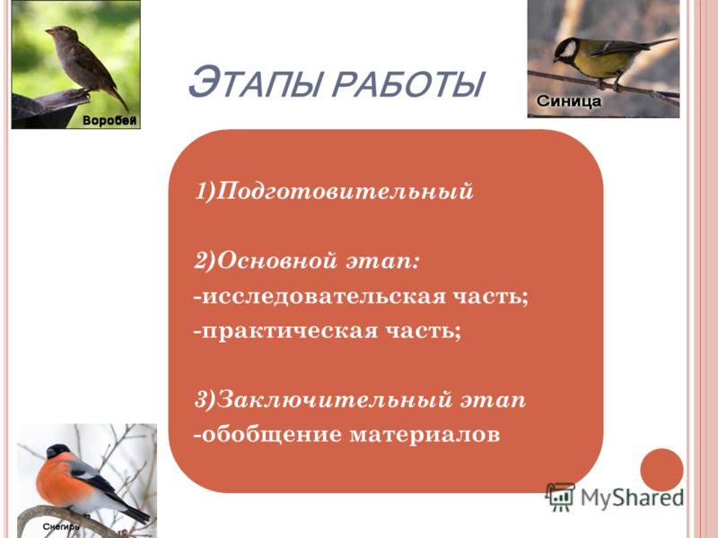 Э ТАПЫ РАБОТЫ 1)Подготовительный 2)Основной этап: -исследовательская часть; -практическая часть; 3)Заключительный этап -обобщение материалов
