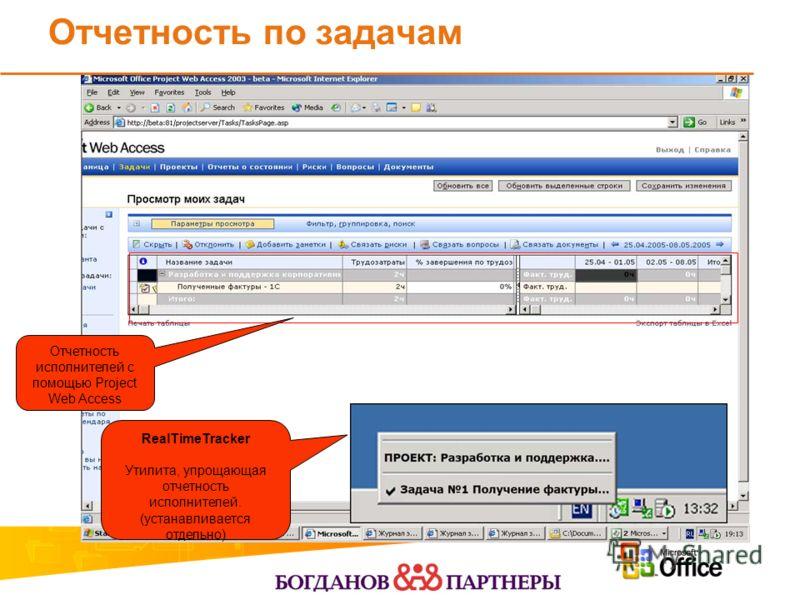 Отчетность по задачам RealTimeTracker Утилита, упрощающая отчетность исполнителей. (устанавливается отдельно) Отчетность исполнителей с помощью Project Web Access