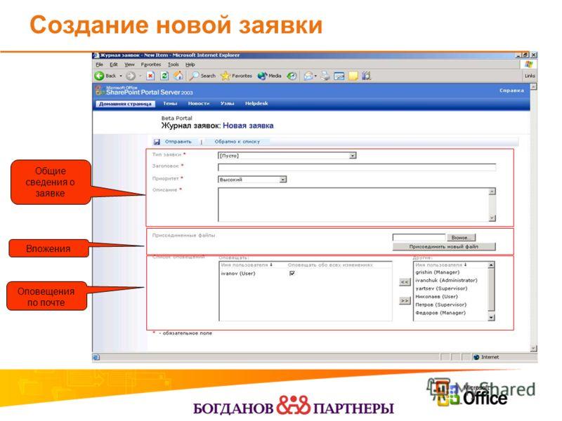 Создание новой заявки Общие сведения о заявке Оповещения по почте Вложения