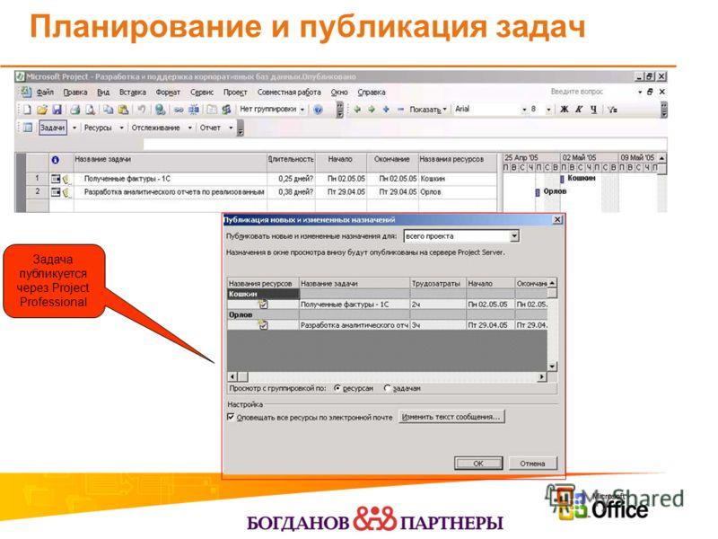 Планирование и публикация задач Задача публикуется через Project Professional