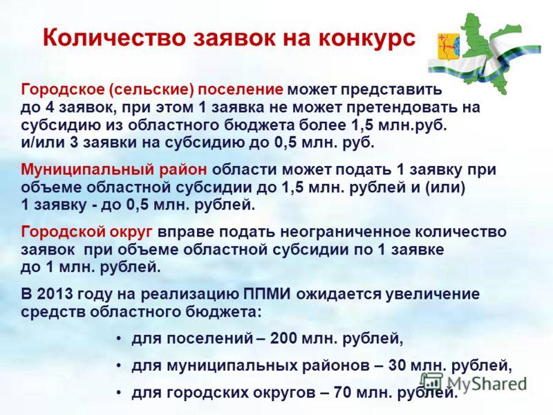 Количество заявок на конкурс Городское (сельские) поселение может представить до 4 заявок, при этом 1 заявка не может претендовать на субсидию из областного бюджета более 1,5 млн.руб. и/или 3 заявки на субсидию до 0,5 млн. руб. Муниципальный район об