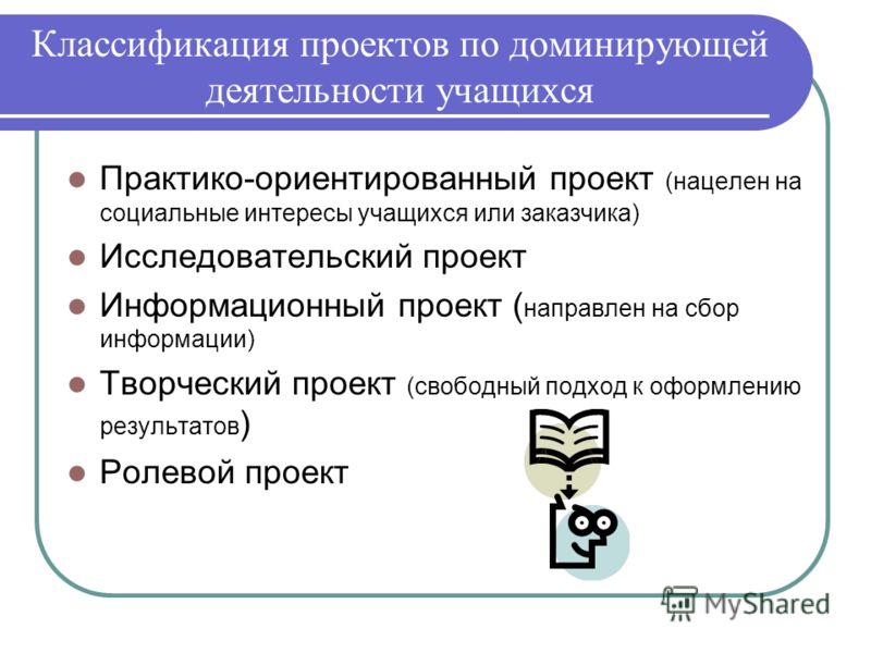 Классификация проектов по доминирующей деятельности учащихся Практико-ориентированный проект (нацелен на социальные интересы учащихся или заказчика) Исследовательский проект Информационный проект ( направлен на сбор информации) Творческий проект (сво