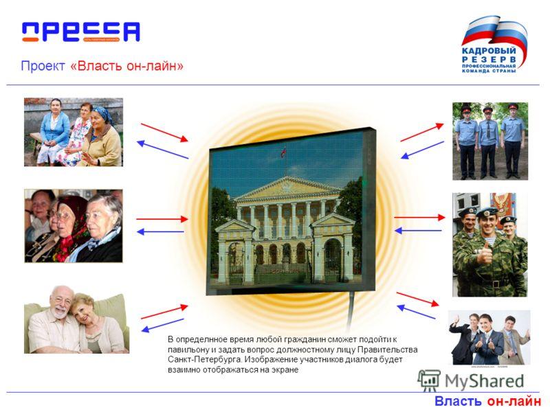 Власть он-лайн Проект «Власть он-лайн» В определнное время любой гражданин сможет подойти к павильону и задать вопрос должностному лицу Правительства Санкт-Петербурга. Изображение участников диалога будет взаимно отображаться на экране