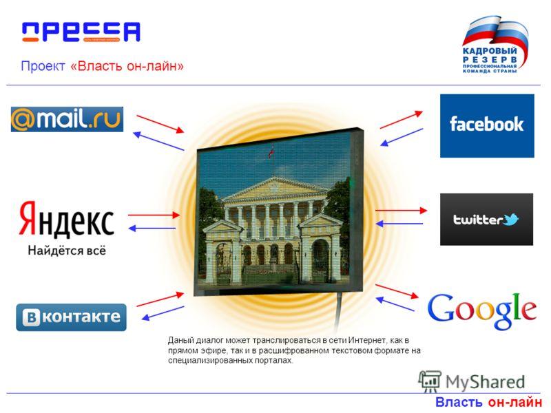 Власть он-лайн Проект «Власть он-лайн» Даный диалог может транслироваться в сети Интернет, как в прямом эфире, так и в расшифрованном текстовом формате на специализированных порталах.