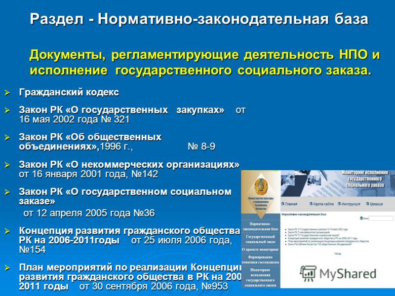 Раздел - Нормативно-законодательная база Документы, регламентирующие деятельность НПО и исполнение государственного социального заказа. Гражданский кодекс Гражданский кодекс Закон РК «О государственных закупках» от 16 мая 2002 года 321 Закон РК «О го