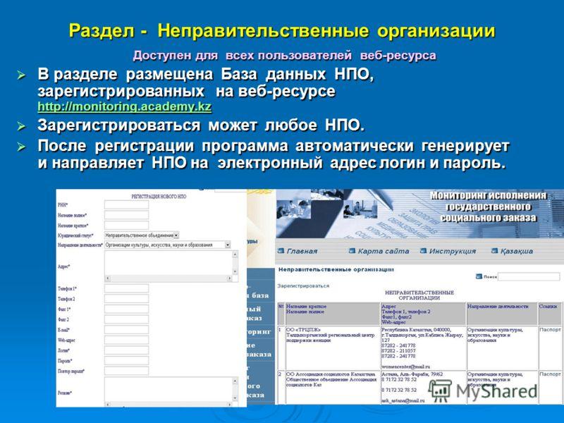Раздел - Неправительственные организации Доступен для всех пользователей веб-ресурса В разделе размещена База данных НПО, зарегистрированных на веб-ресурсе http://monitoring.academy.kz В разделе размещена База данных НПО, зарегистрированных на веб-ре