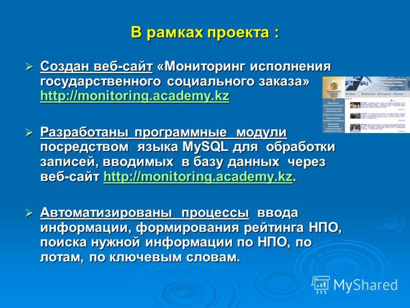 В рамках проекта : Создан веб-сайт «Мониторинг исполнения государственного социального заказа» http://monitoring.academy.kz Создан веб-сайт «Мониторинг исполнения государственного социального заказа» http://monitoring.academy.kz http://monitoring.aca
