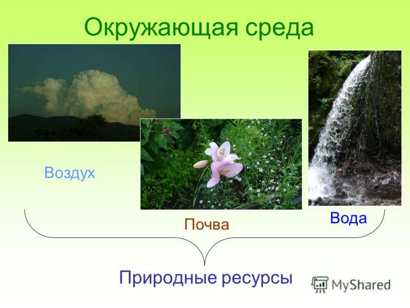 Окружающая среда Природные ресурсы Воздух Вода Почва