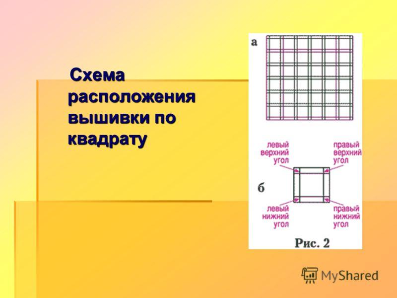 Схема расположения вышивки по квадрату Схема расположения вышивки по квадрату
