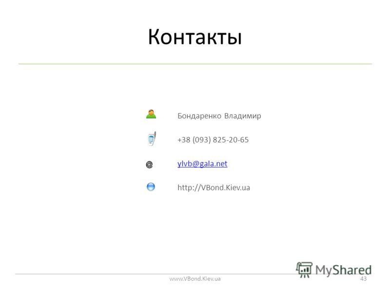 Контакты www.VBond.Kiev.ua43 Бондаренко Владимир +38 (093) 825-20-65 ylvb@gala.net http://VBond.Kiev.ua