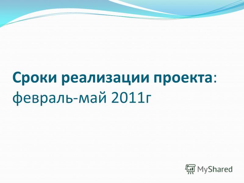Сроки реализации проекта: февраль-май 2011г