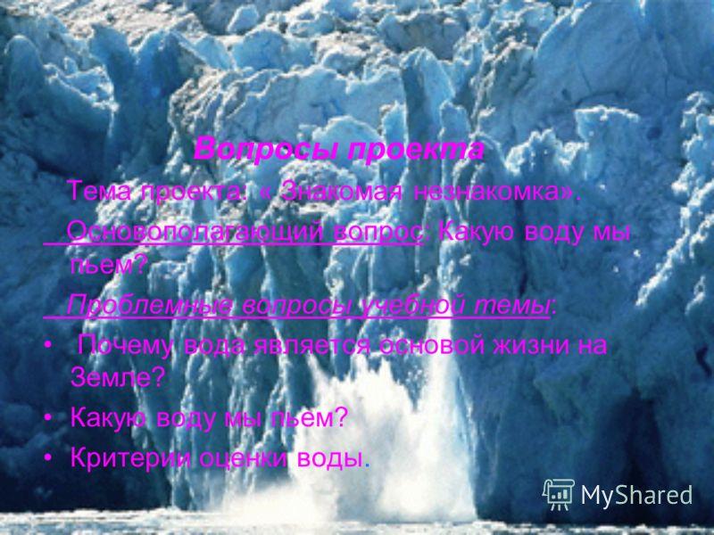 Вопросы проекта Тема проекта: « Знакомая незнакомка». Основополагающий вопрос: Какую воду мы пьем? Проблемные вопросы учебной темы: Почему вода является основой жизни на Земле? Какую воду мы пьем? Критерии оценки воды.