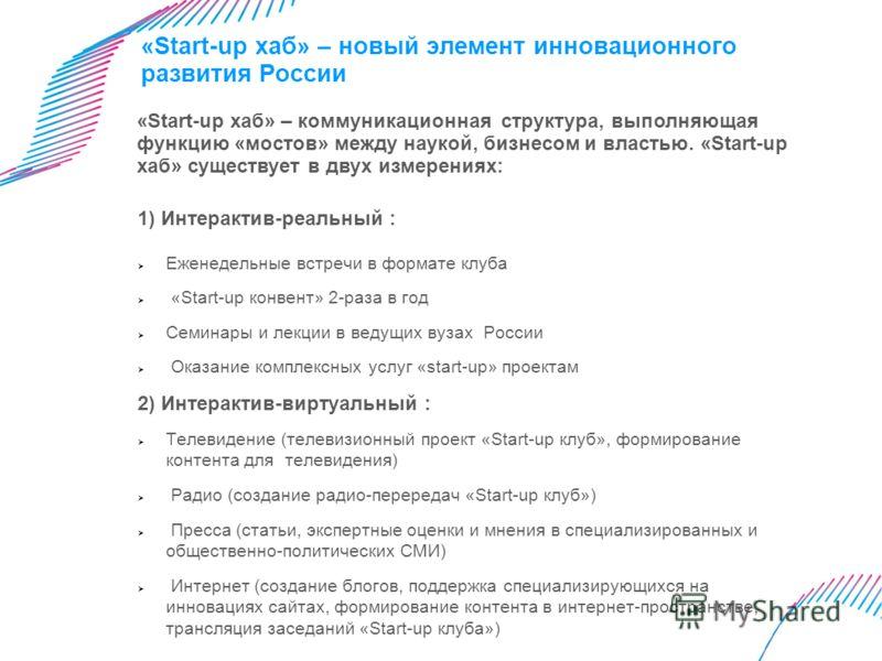 «Start-up хаб» – новый элемент инновационного развития России 1) Интерактив-реальный : Еженедельные встречи в формате клуба «Start-up конвент» 2-раза в год Cеминары и лекции в ведущих вузах России Оказание комплексных услуг «start-up» проектам 2) Инт