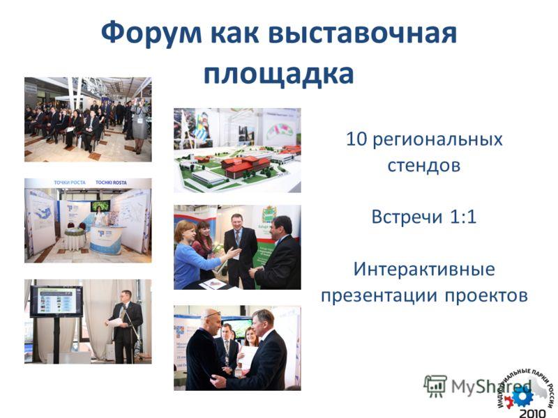 Форум как выставочная площадка 10 региональных стендов Встречи 1:1 Интерактивные презентации проектов