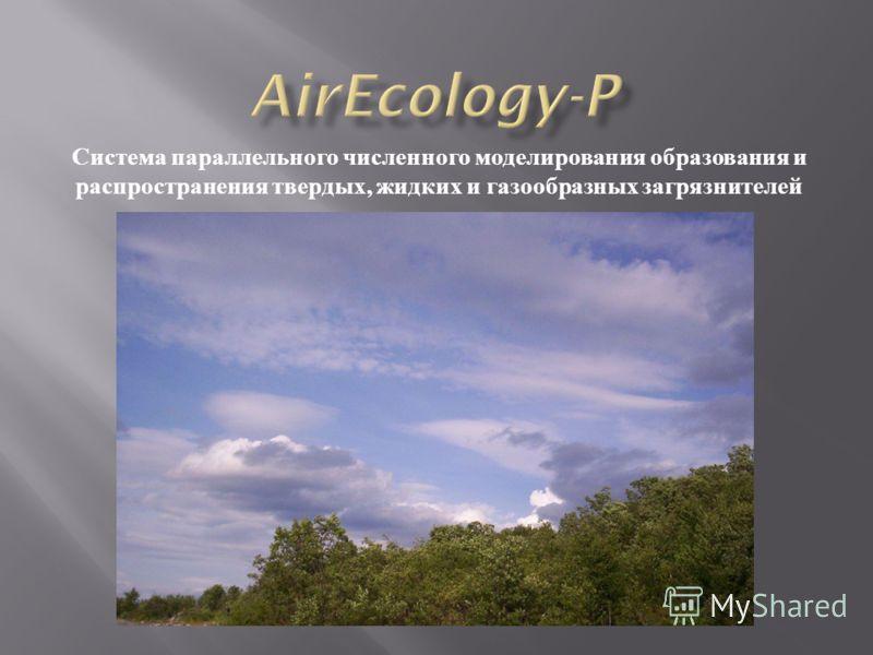 Система параллельного численного моделирования образования и распространения твердых, жидких и газообразных загрязнителей