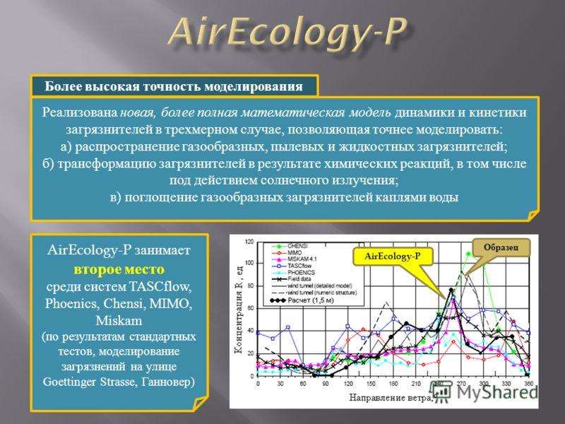Реализована новая, более полная математическая модель динамики и кинетики загрязнителей в трехмерном случае, позволяющая точнее моделировать: а) распространение газообразных, пылевых и жидкостных загрязнителей; б) трансформацию загрязнителей в резуль