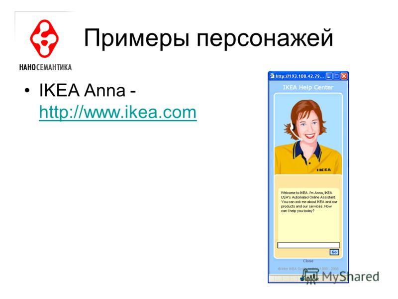 Примеры персонажей IKEA Anna - http://www.ikea.com http://www.ikea.com