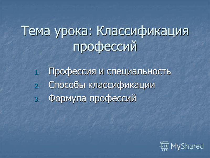 Тема урока: Классификация профессий 1. Профессия и специальность 2. Способы классификации 3. Формула профессий