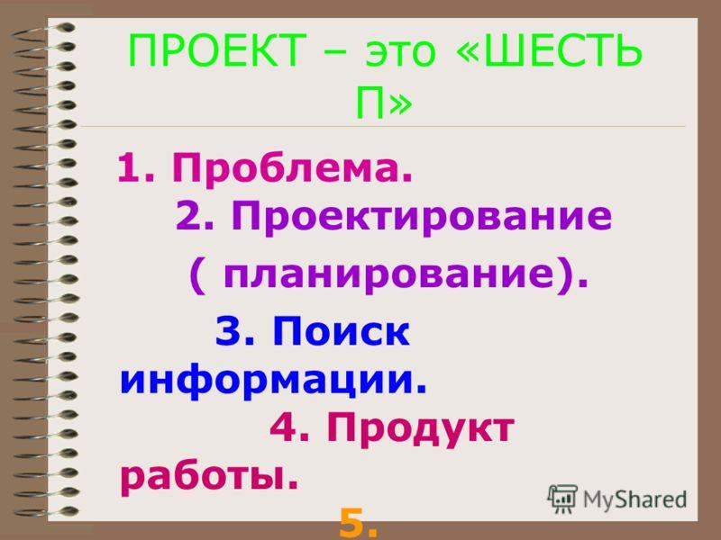 ПРОЕКТ – это «ШЕСТЬ П» 1. Проблема. 2. Проектирование ( планирование). 3. Поиск информации. 4. Продукт работы. 5. Презентация. 6. Портфолио.