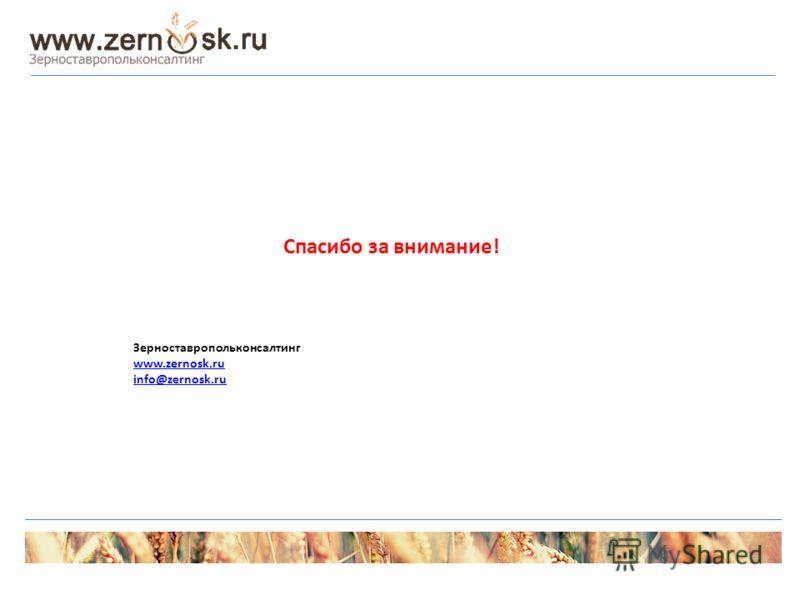 Спасибо за внимание! Зерноставропольконсалтинг www.zernosk.ru info@zernosk.ru