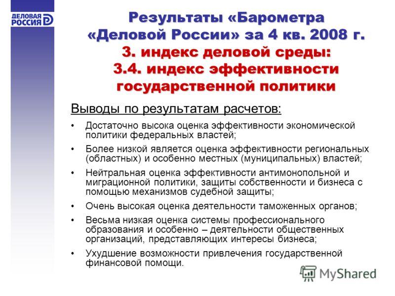 Результаты «Барометра «Деловой России» за 4 кв. 2008 г. 3. индекс деловой среды: 3.4. индекс эффективности государственной политики Выводы по результатам расчетов: Достаточно высока оценка эффективности экономической политики федеральных властей; Бол