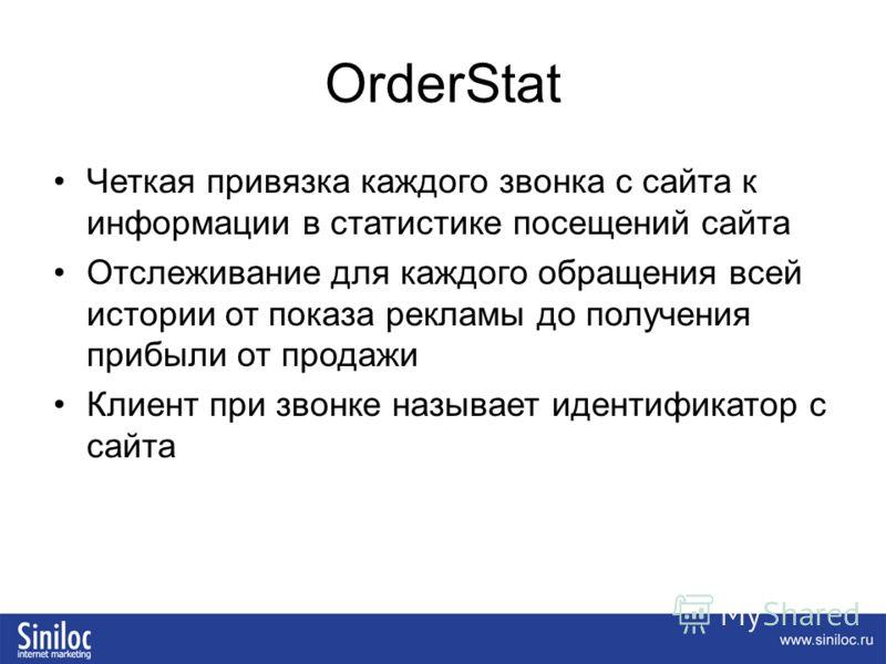 OrderStat Четкая привязка каждого звонка с сайта к информации в статистике посещений сайта Отслеживание для каждого обращения всей истории от показа рекламы до получения прибыли от продажи Клиент при звонке называет идентификатор с сайта