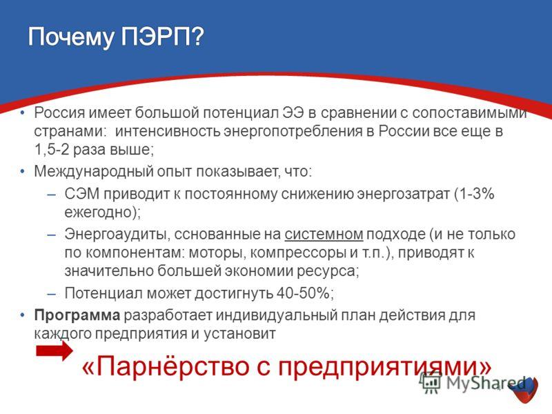 Россия имеет большой потенциал ЭЭ в сравнении с сопоставимыми странами: интенсивность энергопотребления в России все еще в 1,5-2 раза выше; Международный опыт показывает, что: –СЭМ приводит к постоянному снижению энергозатрат (1-3% ежегодно); –Энерго