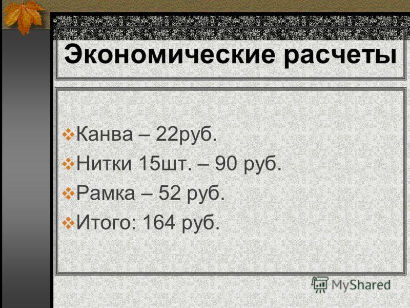 Экономические расчеты Канва – 22руб. Нитки 15шт. – 90 руб. Рамка – 52 руб. Итого: 164 руб.