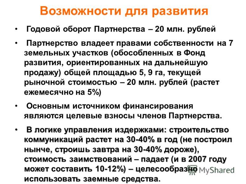 Годовой оборот Партнерства – 20 млн. рублей Партнерство владеет правами собственности на 7 земельных участков (обособленных в Фонд развития, ориентированных на дальнейшую продажу) общей площадью 5, 9 га, текущей рыночной стоимостью – 20 млн. рублей (
