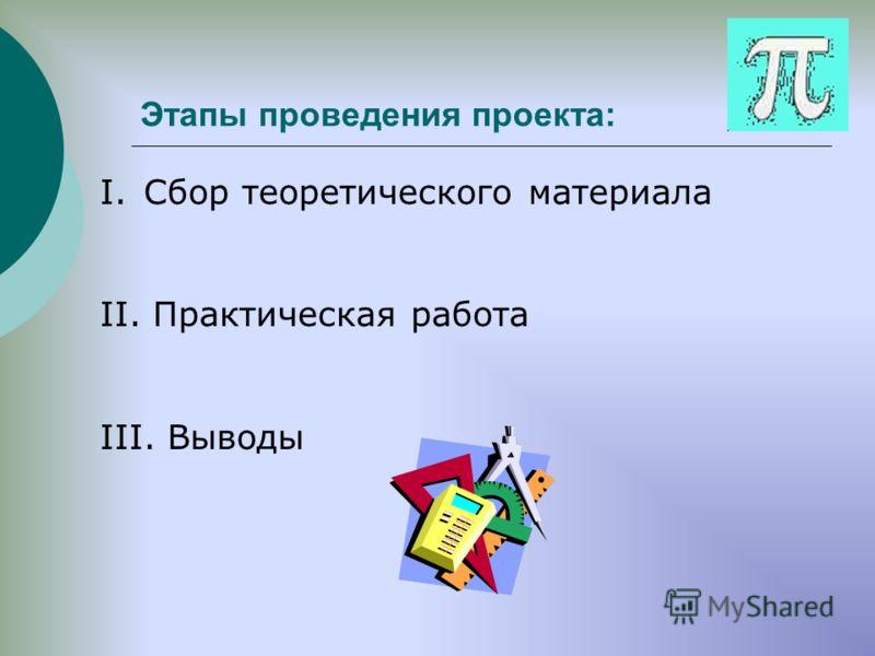 Этапы проведения проекта: I.Сбор теоретического материала II. Практическая работа III. Выводы