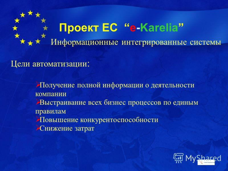 Проект ЕС e-Karelia Цели автоматизации : Получение полной информации о деятельности компании Выстраивание всех бизнес процессов по единым правилам Повышение конкурентоспособности Снижение затрат Информационные интегрированные системы