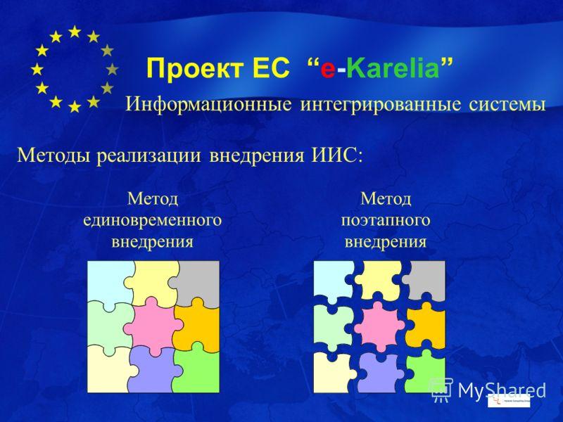 Проект ЕС e-Karelia Методы реализации внедрения ИИС: Метод единовременного внедрения Метод поэтапного внедрения Информационные интегрированные системы