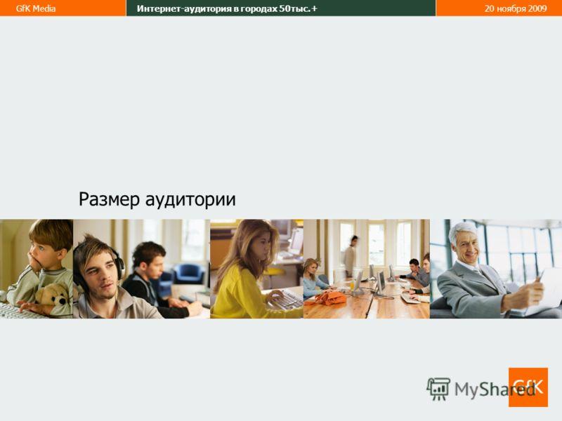 GfK MediaИнтернет-аудитория в городах 50тыс.+20 ноября 2009 Размер аудитории