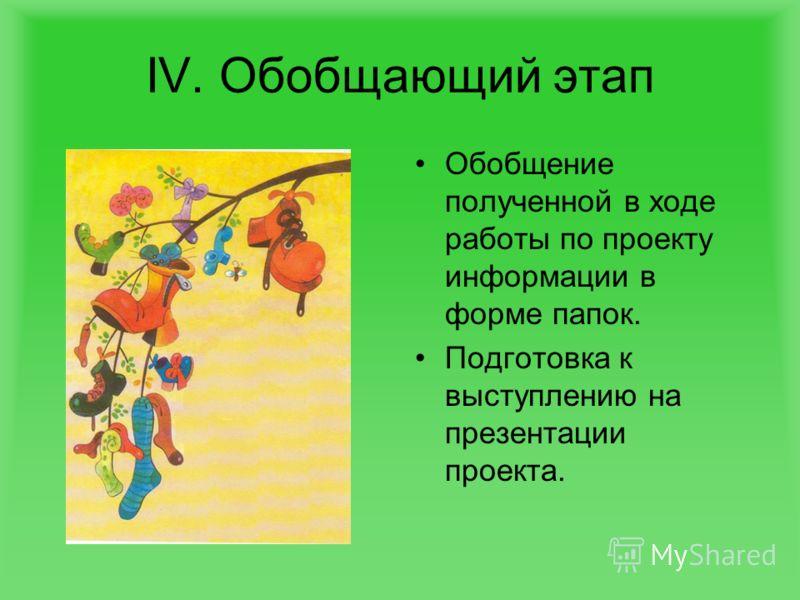 IV. Обобщающий этап Обобщение полученной в ходе работы по проекту информации в форме папок. Подготовка к выступлению на презентации проекта.