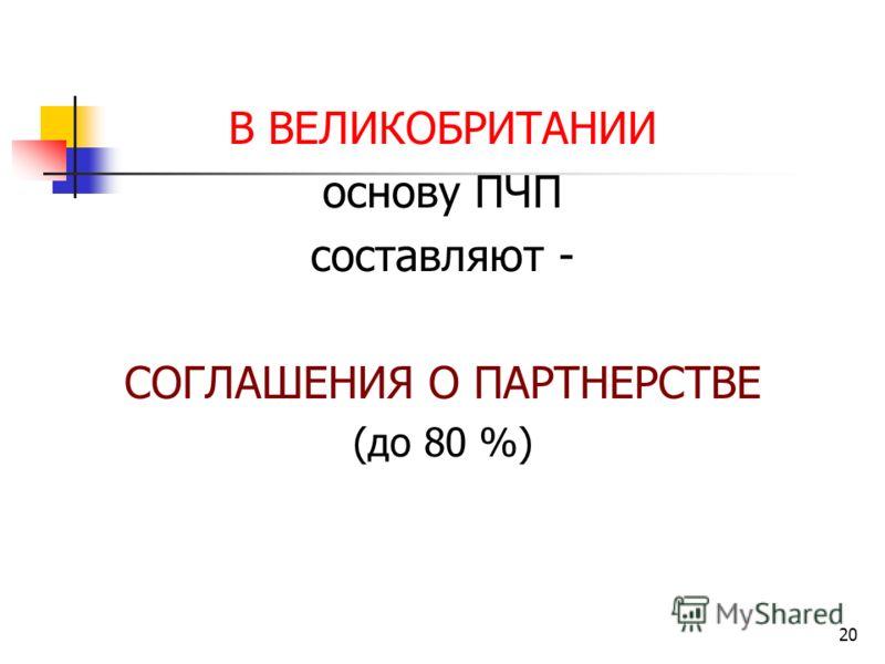 20 В ВЕЛИКОБРИТАНИИ основу ПЧП составляют - СОГЛАШЕНИЯ О ПАРТНЕРСТВЕ (до 80 %)