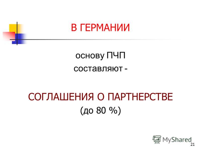 21 В ГЕРМАНИИ основу ПЧП составляют - СОГЛАШЕНИЯ О ПАРТНЕРСТВЕ (до 80 %)