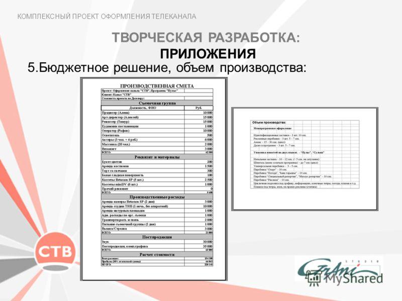 КОМПЛЕКСНЫЙ ПРОЕКТ ОФОРМЛЕНИЯ ТЕЛЕКАНАЛА 5.Бюджетное решение, объем производства: ТВОРЧЕСКАЯ РАЗРАБОТКА: ПРИЛОЖЕНИЯ