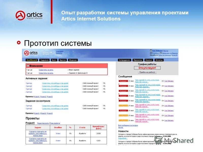 Опыт разработки системы управления проектами Artics Internet Solutions Прототип системы