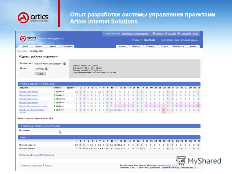 Опыт разработки системы управления проектами Artics Internet Solutions