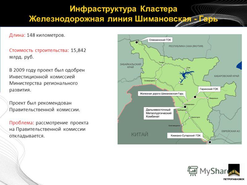 Инфраструктура Кластера Железнодорожная линия Шимановская - Гарь 4 Длина: 148 километров. Стоимость строительства: 15,842 млрд. руб. В 2009 году проект был одобрен Инвестиционной комиссией Министерства регионального развития. Проект был рекомендован