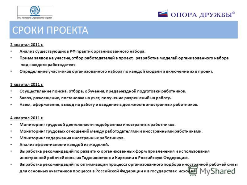 СРОКИ ПРОЕКТА 2 квартал 2011 г. Анализ существующих в РФ практик организованного набора. Прием заявок на участие,отбор работодателей в проект, разработка моделей организованного набора под каждого работодателя Определение участников организованного н