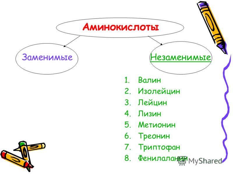 Аминокислоты ЗаменимыеНезаменимые 1.Валин 2.Изолейцин 3.Лейцин 4.Лизин 5.Метионин 6.Треонин 7.Триптофан 8.Фенилаланин