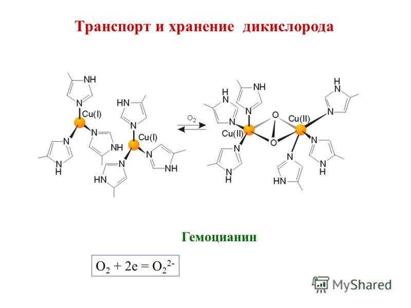 Транспорт и хранение дикислорода Гемоцианин O 2 + 2e = O 2 2-