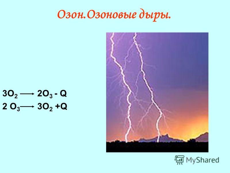 Озон.Озоновые дыры. 3О 2 2О 3 - Q 2 О 3 3О 2 +Q