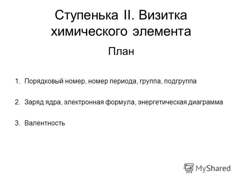 Ступенька II. Визитка химического элемента План 1.Порядковый номер, номер периода, группа, подгруппа 2.Заряд ядра, электронная формула, энергетическая диаграмма 3.Валентность