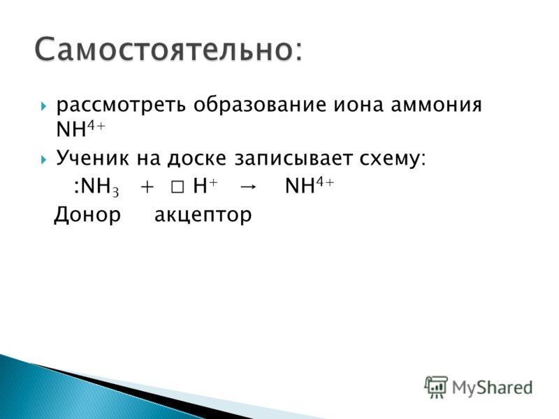 рассмотреть образование иона аммония NH 4+ Ученик на доске записывает схему: :NH 3 + Н + NH 4+ Донор акцептор