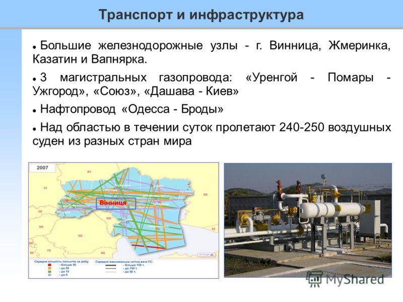 Транспорт и инфраструктура Большие железнодорожные узлы - г. Винница, Жмеринка, Казатин и Вапнярка. 3 магистральных газопровода: «Уренгой - Помары - Ужгород», «Союз», «Дашава - Киев» Нафтопровод «Одесса - Броды» Над областью в течении суток пролетают